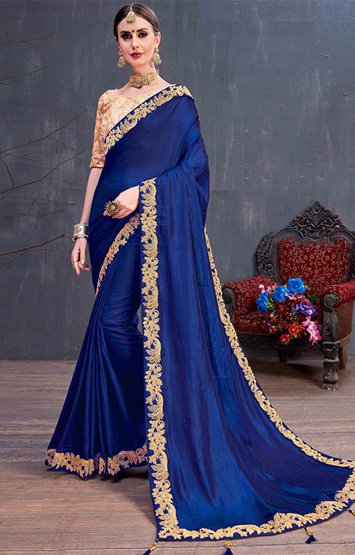 Royal Blue Silk Saree With Embroidered Border