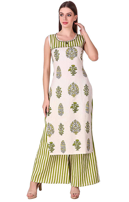 Sleeveless Cotton Kurti With Stripped Palazzo