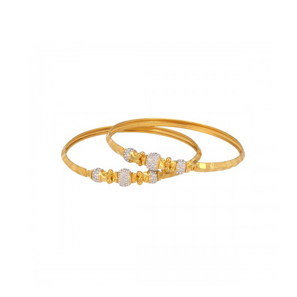 White And Yellow Gold Bangle