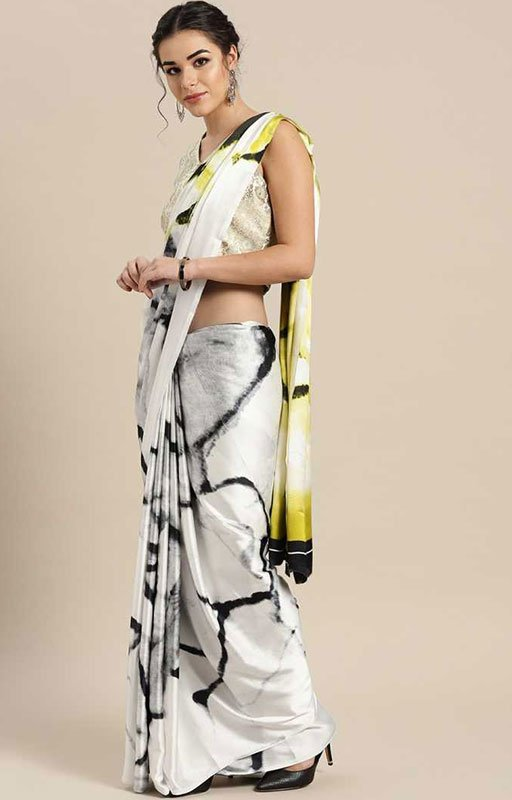 White Crepe Saree