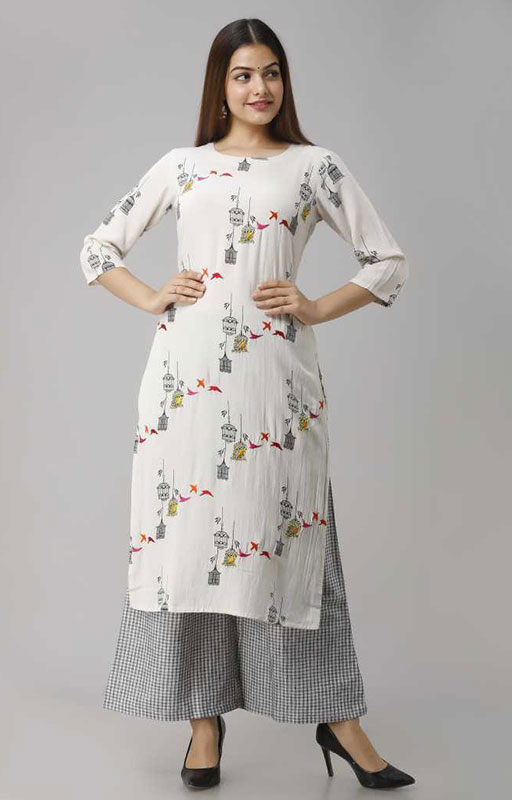 White Kurta And Checks Printed Palazzo