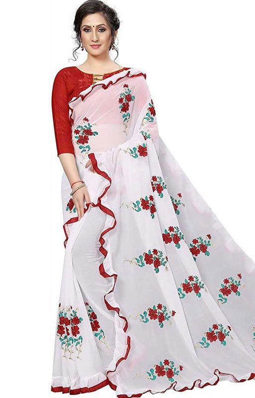 White Ruffle Embroidered Saree