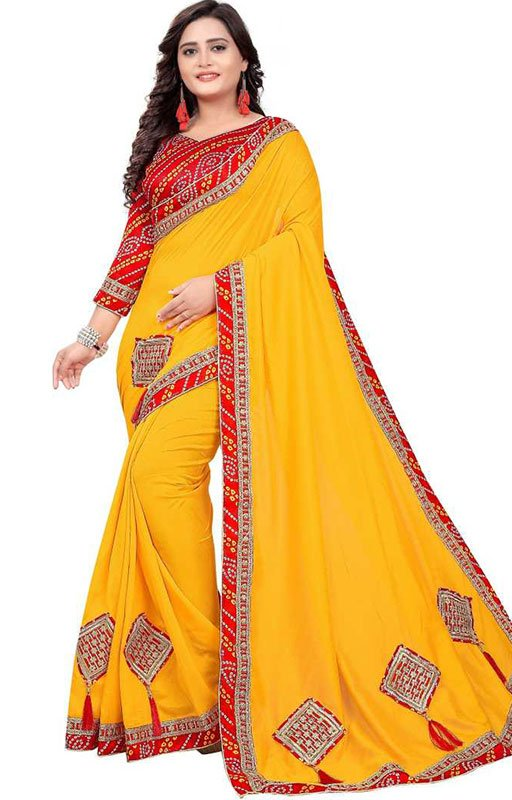 Yellow Color Poly Silk Saree