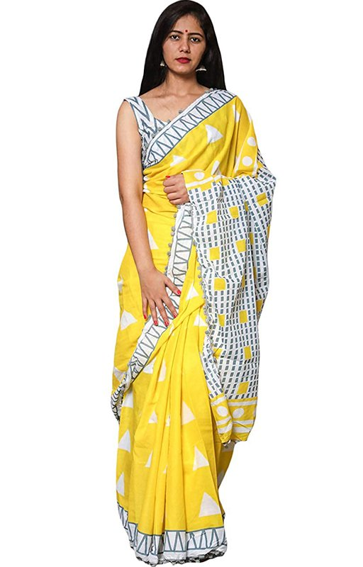 Yellow Handloom Cotton Saree