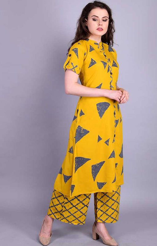 Yellow Printed Kurta And Palazzo Set