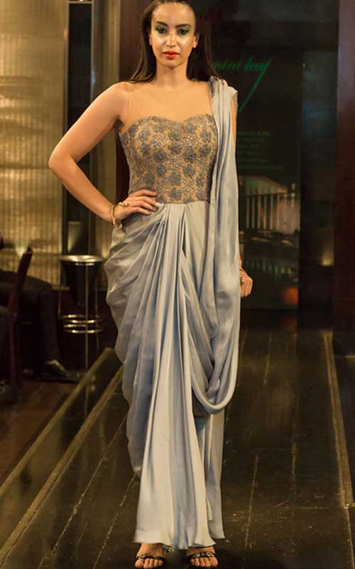 A corset-style saree gown