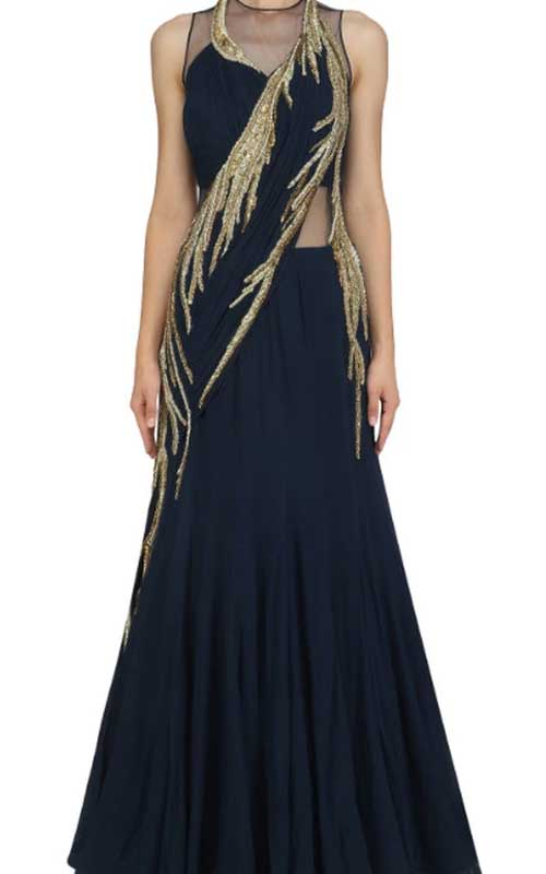 A gold and midnight-blue saree gown