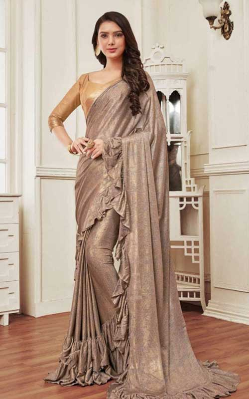 A grey-metallic saree gown with a great drape