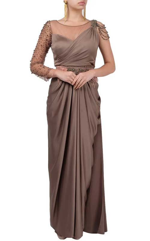 One-shouldered, copper saree-gown