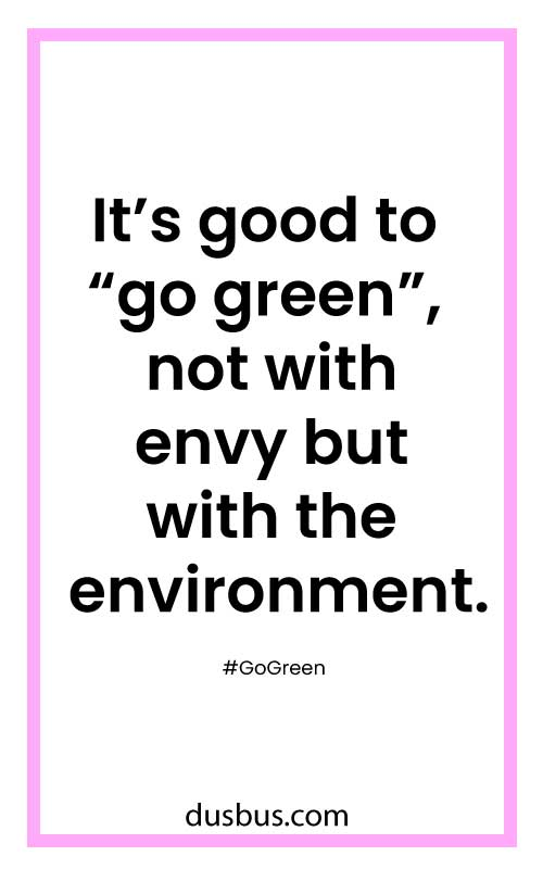 "It's good to ""go green"", not with envy but with the environment."