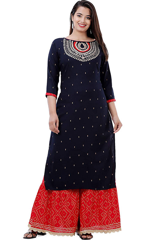 Ashta Vinayak Creations Women's Casual Rayon Embroidered Straight Kurti With Sharara