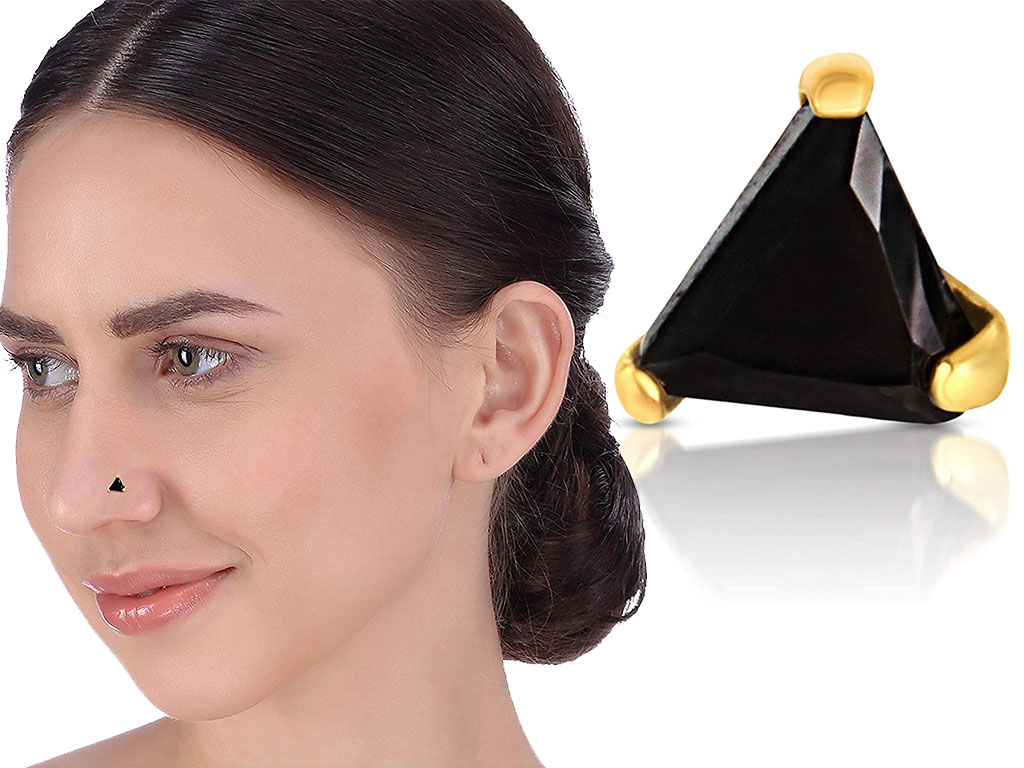 Black Triangle Shape Nose Pin