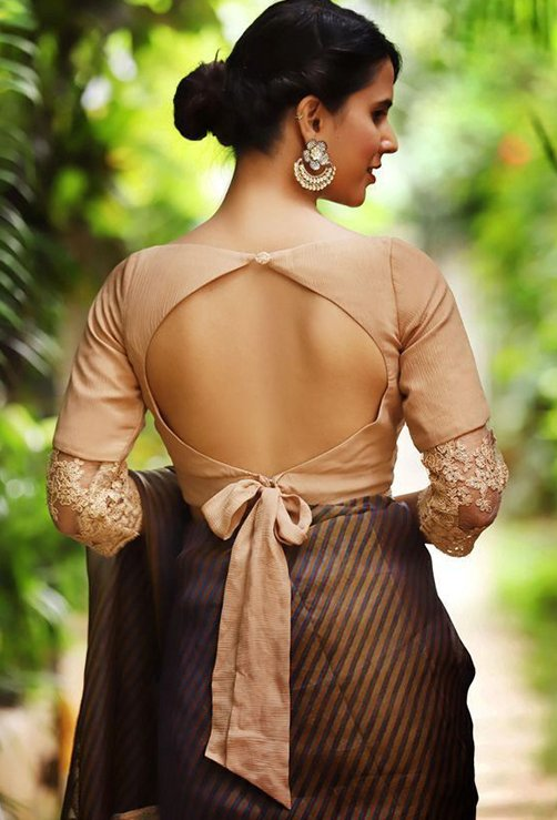 Button With Bow Style Back Blouse Design