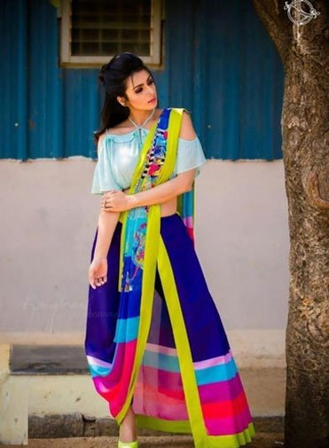Dark Multi Color Saree With Light Blue Blouse