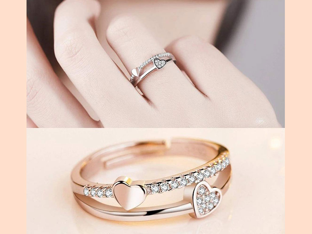 Diamond Heart Design Rose Gold Ring