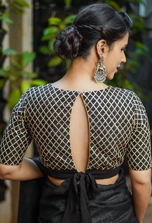 Fish Shape With Bow Back Blouse Design