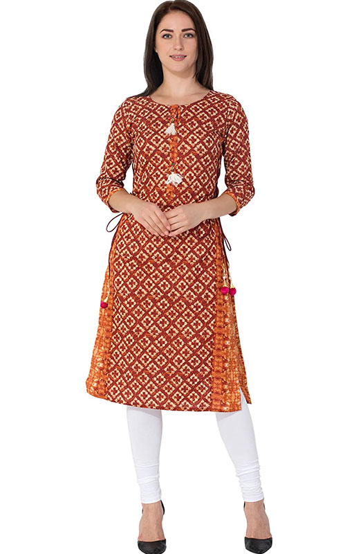GULMOHAR JAIPUR Women's Cotton Straight Kurti