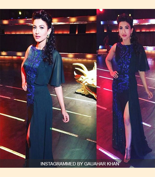 Gauahar Khan In Night Gown Outfit