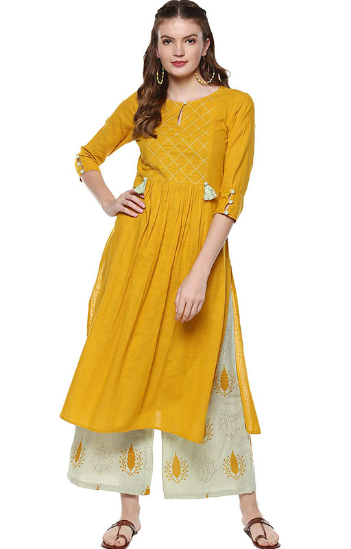 Idalia Women's Mustard And Sage Green Cotton Kurta