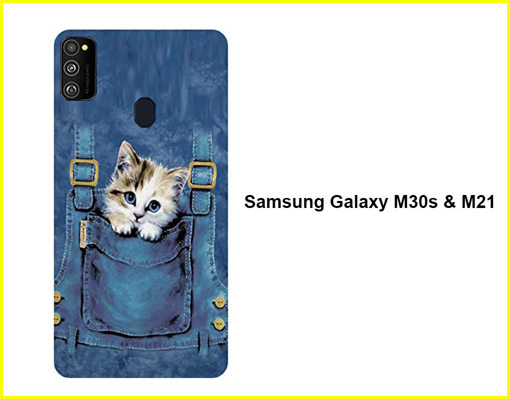Jeans Pocket Kitten Mobile Back Cover(Samsung Galaxy M30s & M21)