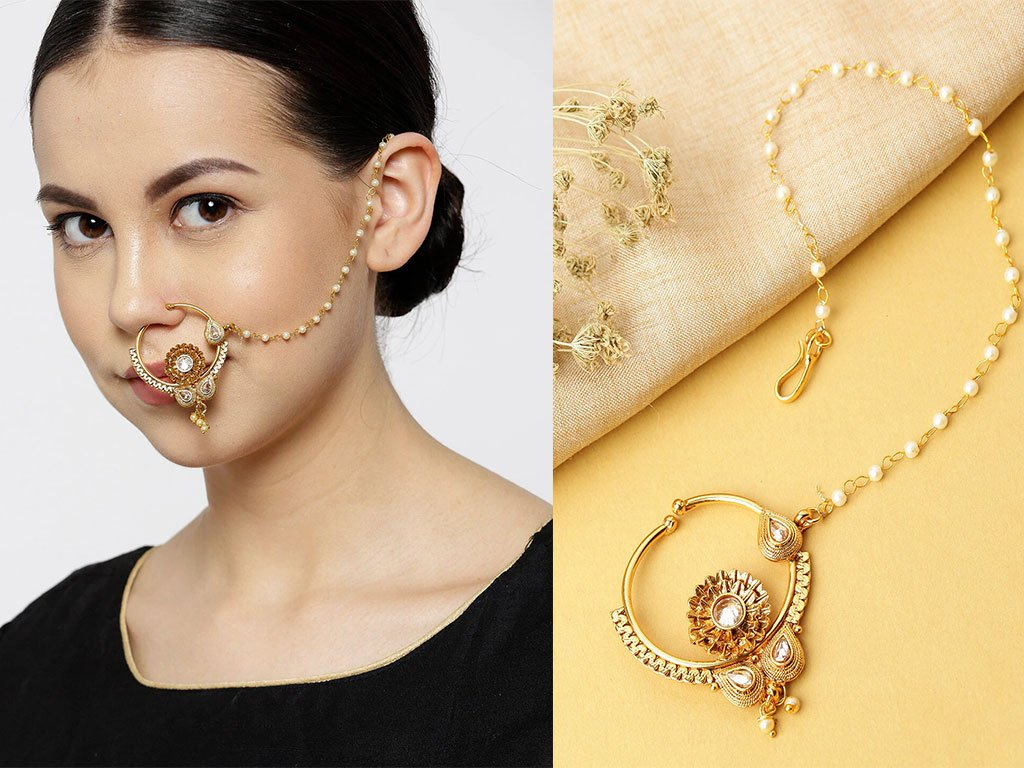 Kundan Clip On Nose Ring With Chain