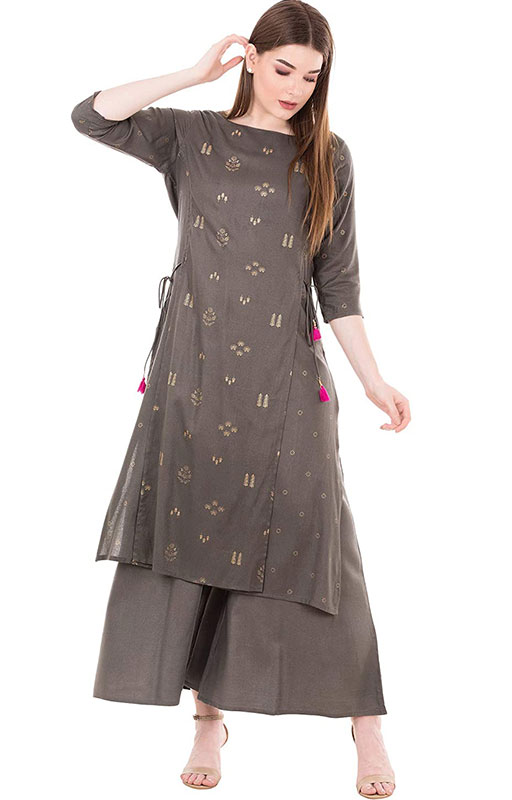 Ortange Women's Rayon Gold Printed Kurta And Palazzo