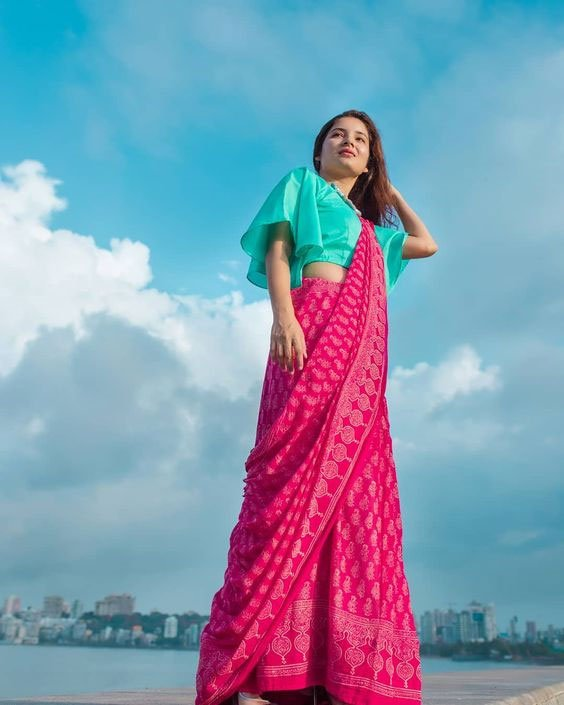 Pink Saree With  Blue Blouse