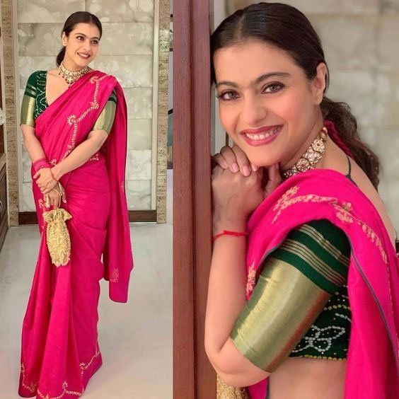 Kajol in pink saree with green blouse