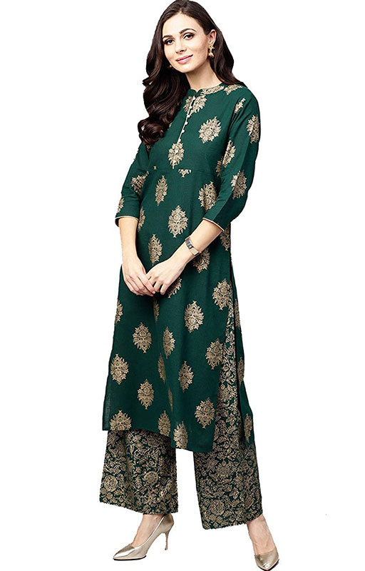Pinkcity Shades Women Green & Golden Printed Kurta with Palazzo