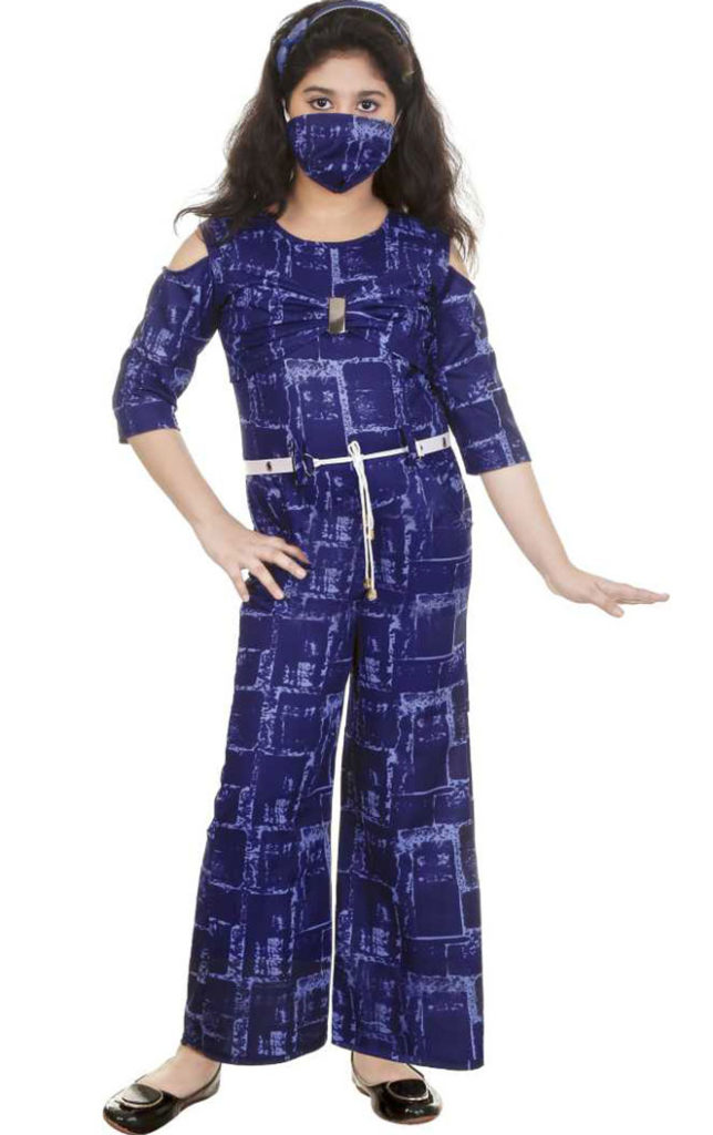 Blue Printed Jumpsuit With Mask