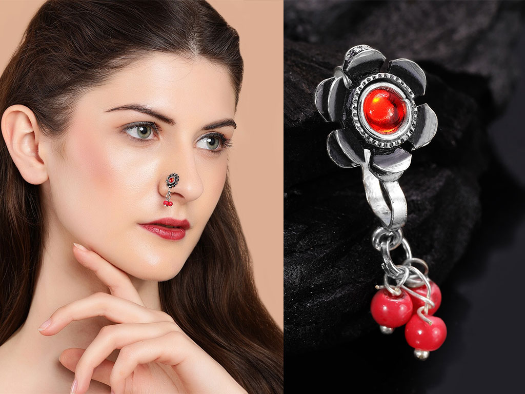 Red Stone Studded Nose Pin