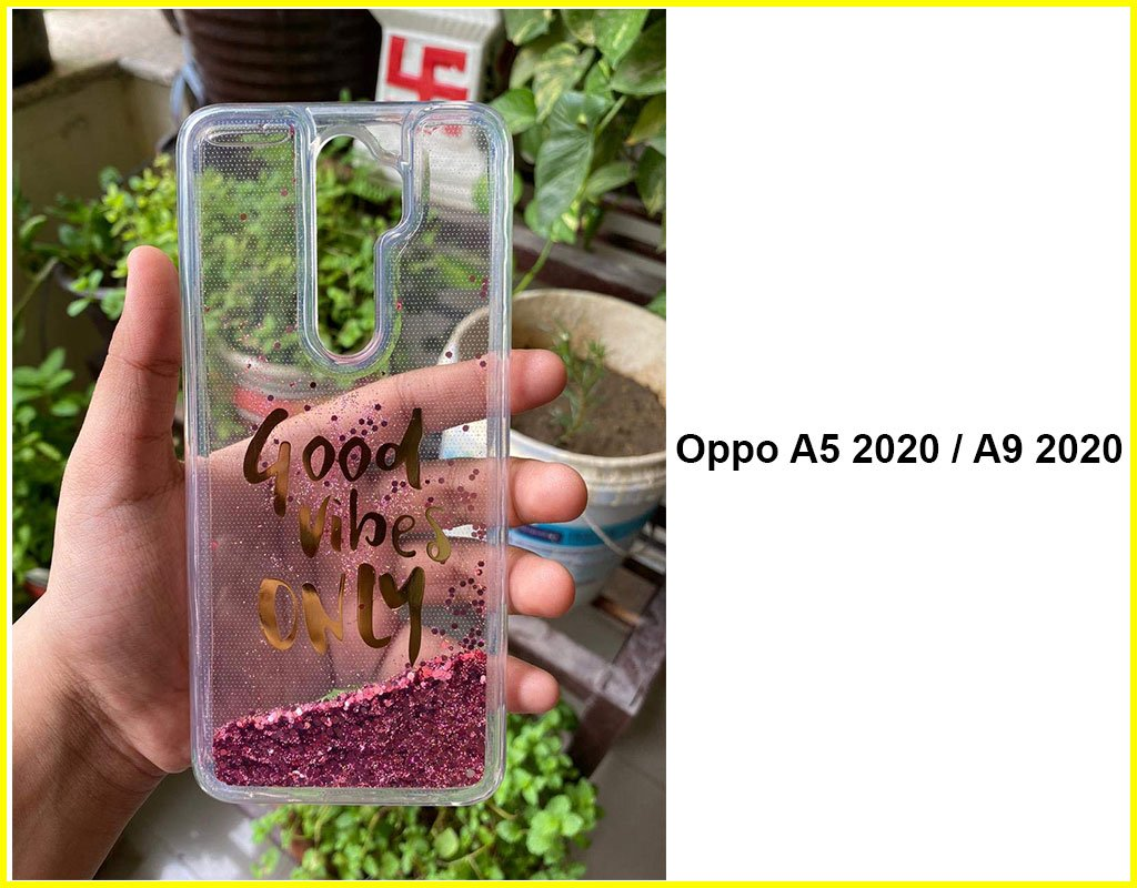 Transparent Liquid Floating Moving Mobile Back Cover(Oppo A5 2020 / A9 2020)