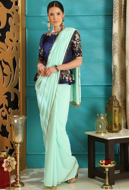 Turquoise Blue Saree With Dark Blue Blouse