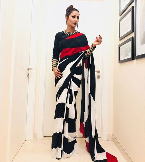 White And Black Saree With Black Blouse