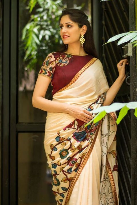 White Saree With Maroon Blouse