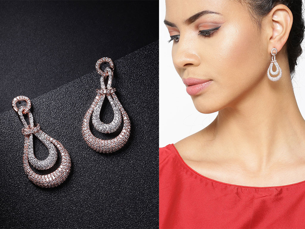 Rose Gold-Plated Stone Studded Handcrafted Teardrop Shaped Drop Earrings Set
