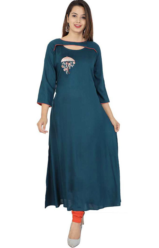 Embroidered Flared Kurti