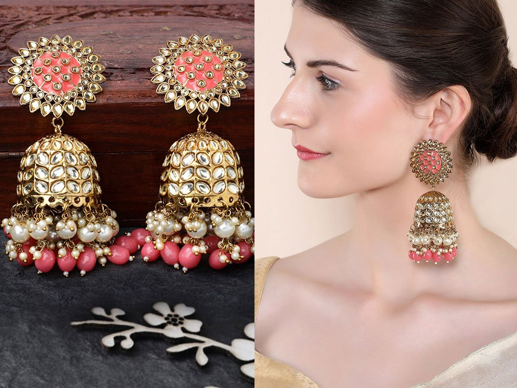 Gold-Plated & Pink Enamelled Handcrafted Classic Jhumkas