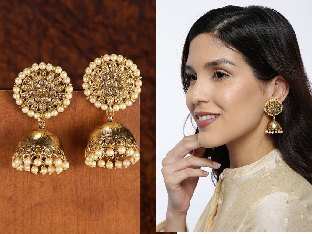 Gold-Toned Dome Shaped Antique Jhumkas