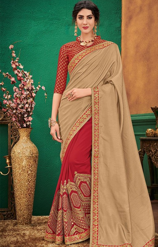 Half And Half Red Embroidered Saree