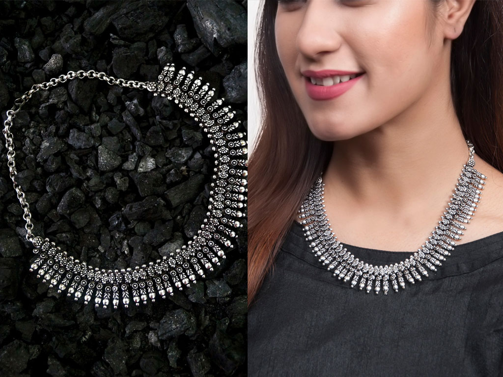 Oxidised Silver-Toned Textured Necklace