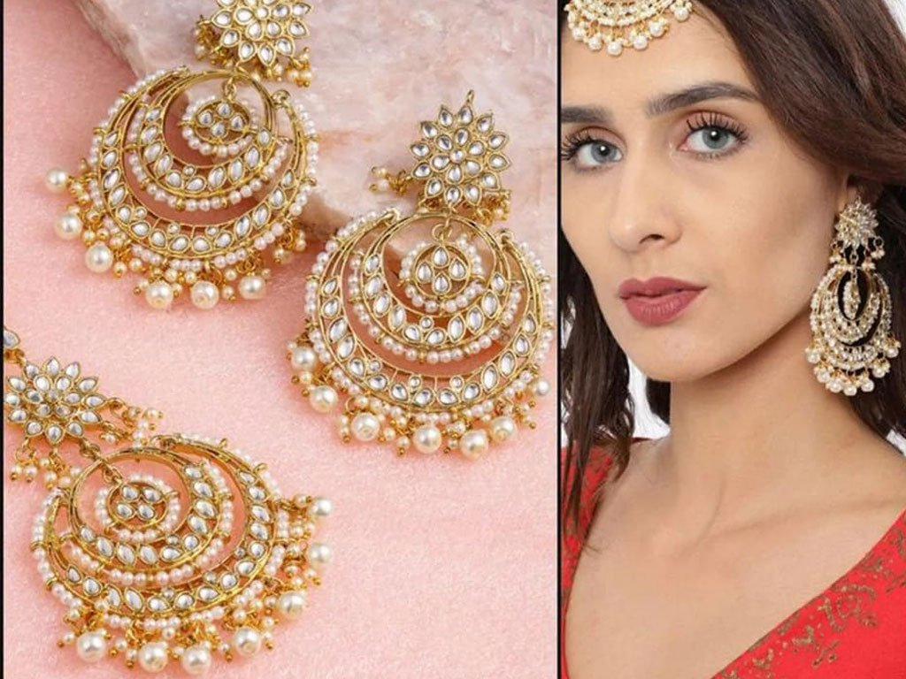 Traditional 18K Gold Plated White Pearl Maang Tikka With Earring