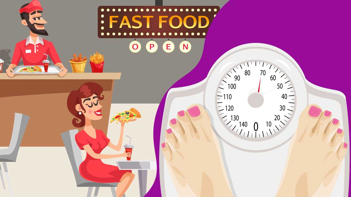 Women Eating Fast food, Weight Gain