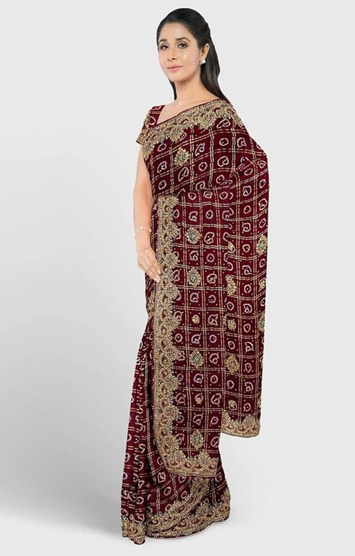 Maroon Embroidered Gharchola Saree
