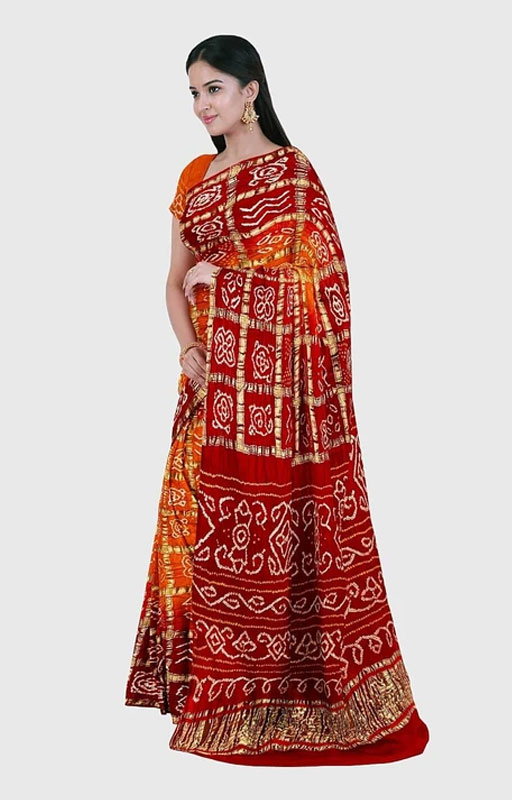 Orange And Red Traditional Gharchola Saree