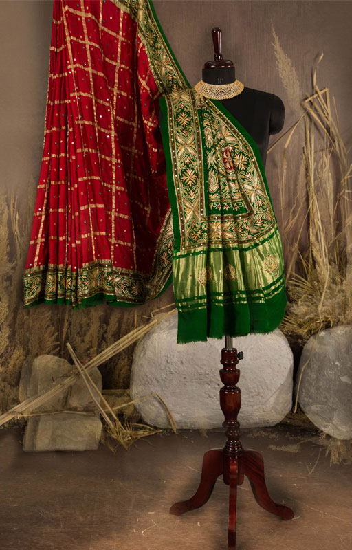 Red And Green Gharchola Silk Saree