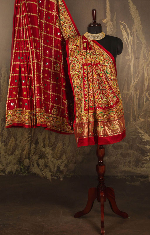 Red Checks Woven Gharchola Saree