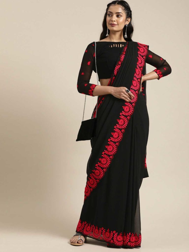 Black Saree with Red Embellishment