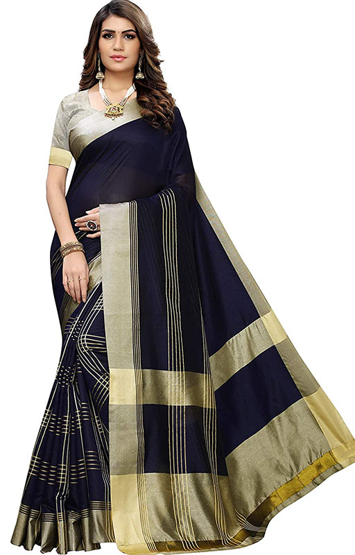 Black And Golden Saree With Blouse Piece