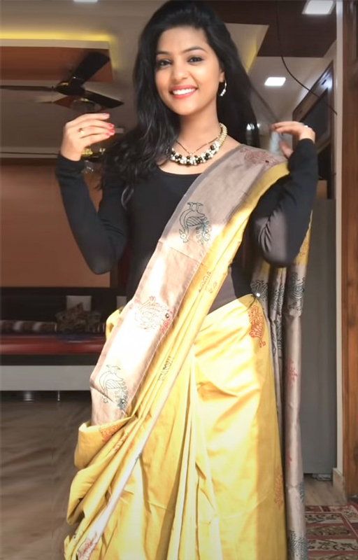 Winter Saree Draping 1st Style